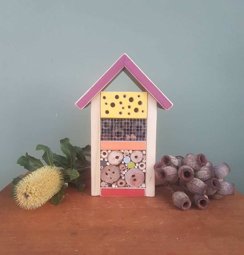 Peachy Solitary Native Bee Home The Woodsman Medium Cottage Style In Aubergine Lemon Mango And Red Up Cycled Eco Solitary Bee Habitat Download Free Architecture Designs Scobabritishbridgeorg