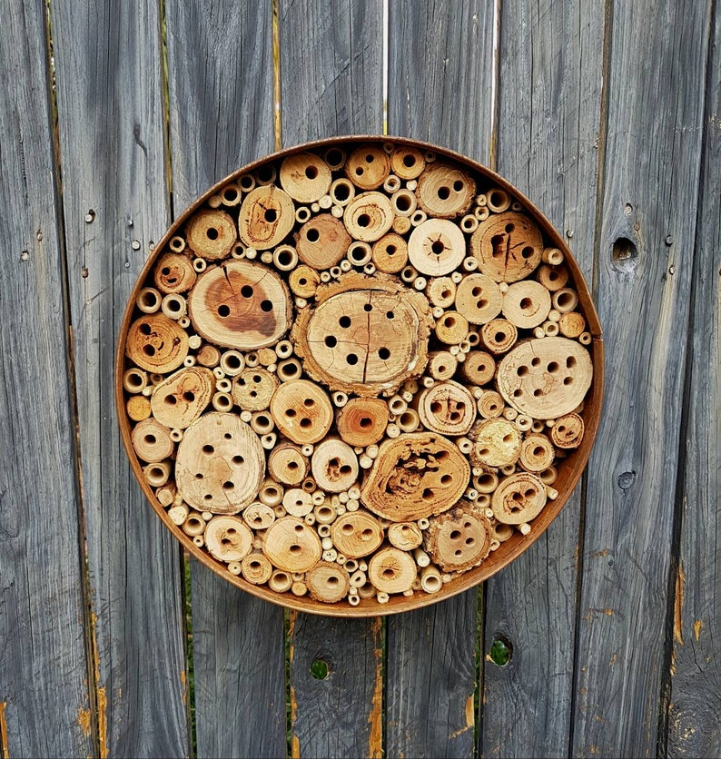 Metal Round Native Bee Hotel Up-cycled Eco Garden Art Worn image 0