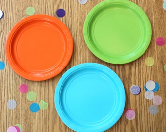 Cake Plates, Paper Plates, Small Plates, Turquoise Plates, Lime Plates, Orange Plates, 17cm Paper Plates, Colourful Plates,  Party Plates