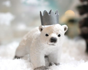 Polar Bear Cub Cake Topper, Polar Bear Party, Christmas Cake Topper, Party Animals, Polar Bear Decoration, Cake Decoration, Keepsake