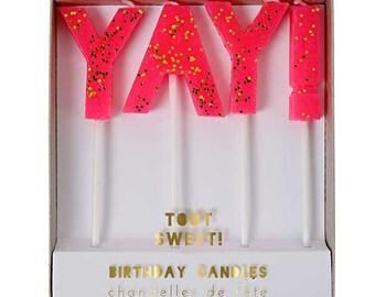 Candle, Cake Candle, Happy Birthday Candle, Yay Candle, Meri Meri Candle, Cake Topper, Party Candles,
