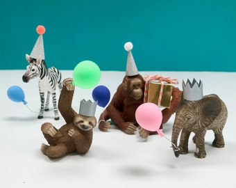 Bundle of 4 Party Animal Cake Toppers with Accessories, Baby Elephant, Baby Zebra, Sloth, Orangutan, Jungle Cake Toppers, Safari Cake Topper