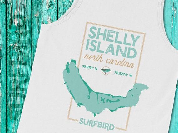 Shelly Island Nc Map Tank Top Shelly Island North Carolina Etsy
