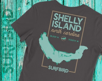 Ladies' Shelly Island North Carolina map short sleeve shirt • Shelly Island North Carolina • Shelly Island NC • Cape Hatteras Outer Banks