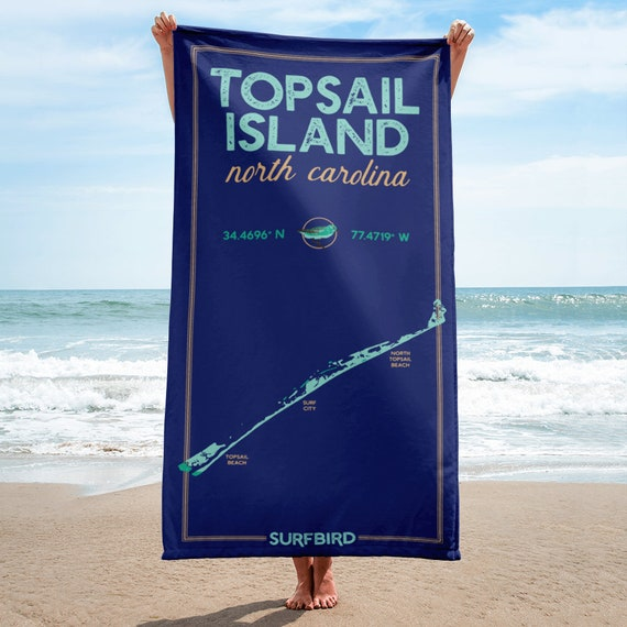 Topsail Island Nc Coastal Map Beach Towel 60 Inches Long Etsy