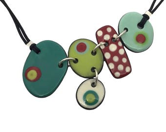 Ceramic and silver necklace with a nice combination of colors