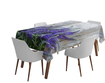 Fabric Tablecloth Printed With Lavender On The Wood Pattern