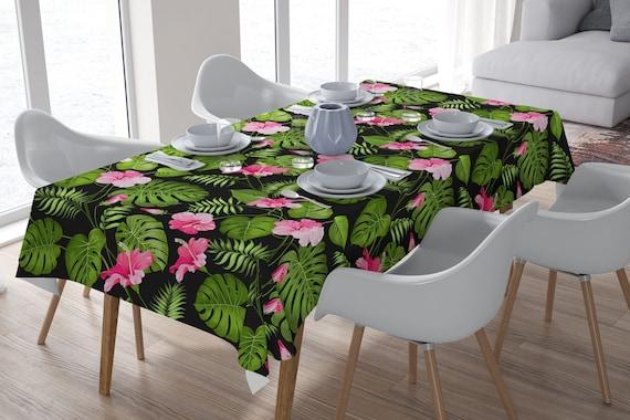 Table Decor Wedding Decor Botanical Print Plants Print Tropical Tablecloth Event Decor Tablecloth Rectangle Tropical Decor