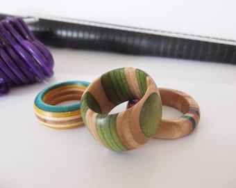 Rings Made from recycled skateboards