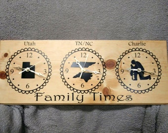 Custom Time zone Clock, Two Time Zone Clock,Family Clock, Wall Clock, Military Clock