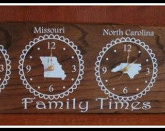 Custom Time zone Clock, Two Time Zone Clock,Family Clock, Wall Clock,