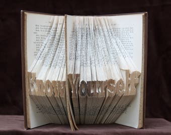 Know Yourself - Folded Book, paper art, unique gift, spiritual present,one of a kind, real handmade, recycled art,