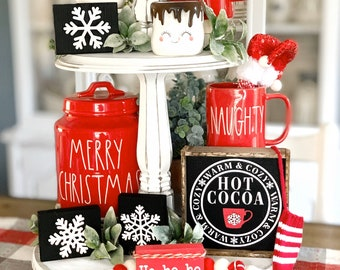 Hot cocoa sign / hot cocoa bar / cocoa sign / coffee bar / tiered tray decor / rae Dunn decor / hot chocolate bar/ kitchen signs / Christmas