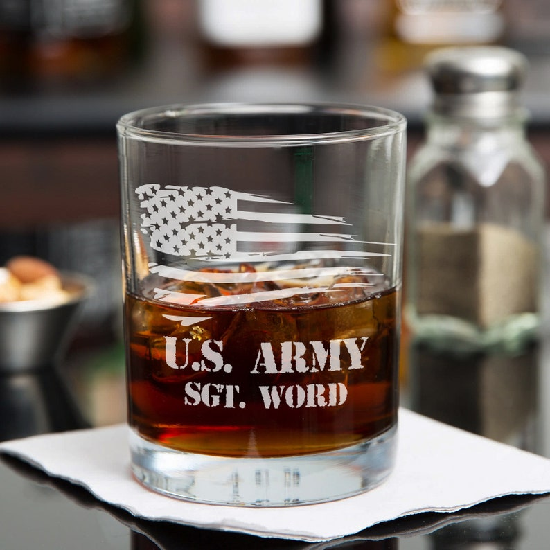 US Army Whiskey Glass - Personalized Whiskey Glasses - Soldier Gift Ideas -  Marine Corps - Custom Scotch Rocks Glass - Navy - Veteran