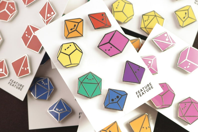 Primary Tiny Dice Buddies Hard Enamel Pin Set Gift for Dungeon Master or Tabletop RPG Player DnD and Pathfinder 7 Polyhedral Dice