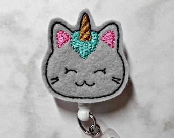 Badge Reel/Unicorn Kitty Badge Reel/Nurse Badge Reel/Unicorn Badge/Cat Badge Reel/Retractable ID Badge Holder/RN Badge Reel/Nurse Gift