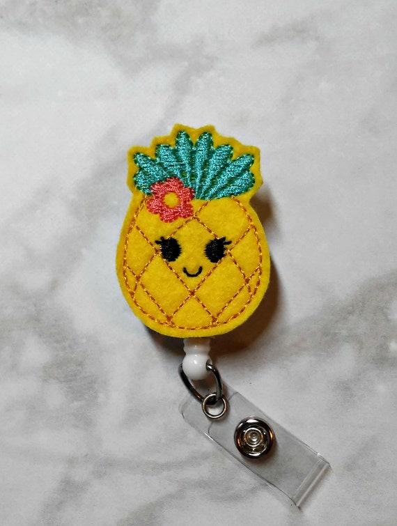 Pineapple Badge Reel/Nurse Badge Reel/Retractable ID Badge Holder/RN Badge  Clip/Felt Badge Reel/Name Badge Holder/Summer Badge Pull
