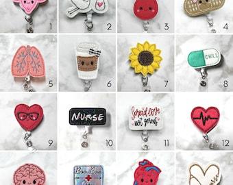 Badge Reel/Nurse Badge Reel/RN Badge Reel/Retractable ID Badge Holder/Nurse Gift/Nurses Week/Medical Student Gift/Cute Badge/Felt Badge Reel