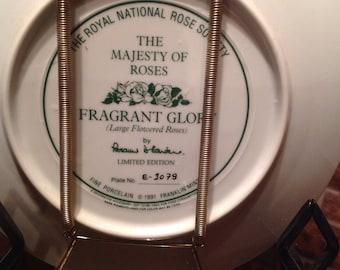Majesty Roses Fragrant Glory Collector Plate Floral Franklin Mint Vintage