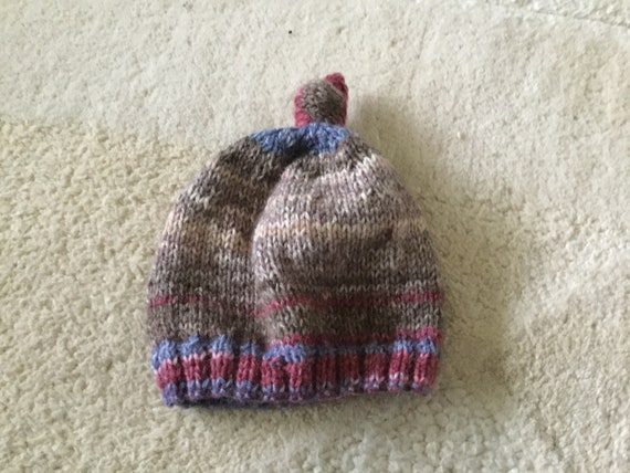 5a05bd6168d knotted baby beanie hat hand knitted