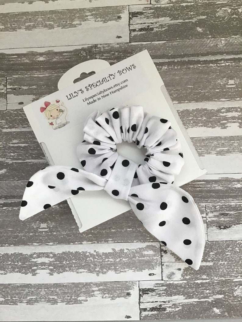 Scrunchie Bunny Ear Scrunchie Bow Scrunchie Top Knot Scrunchie White with Medium Black Dots