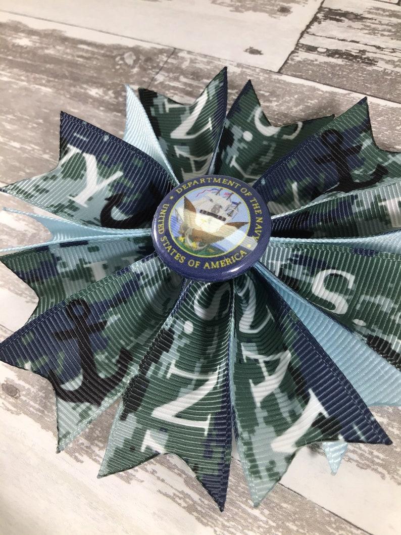 Military Hair Bow Memorial Day Hair Bow Navy Headband Veteran/'s Day Hair Bow Navy Hair Bow Military Headband