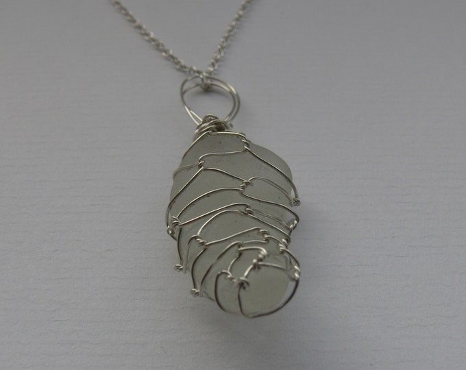 Off White Wire Wrapped Spanish Seaglass Pendant