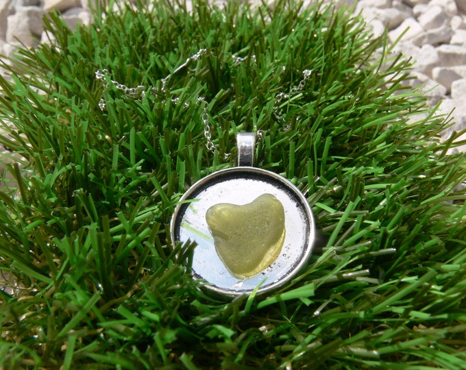 Heart Shaped Seaglass Medal Necklace
