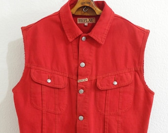 8ddcae0d1a1 Replay Rare 90s Biker Vest M L Red Denim Swag Surfer Skater Made in Italy  Festival