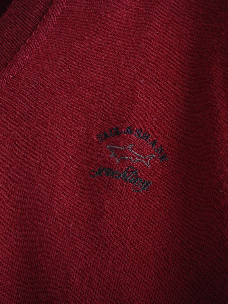 ea4ac0b4797b6 Paul & Shark Vintage V Neck Pullover M/L Burgundy Red Pure New Wool  Bordeaux Sailing Sweater Made in Italy