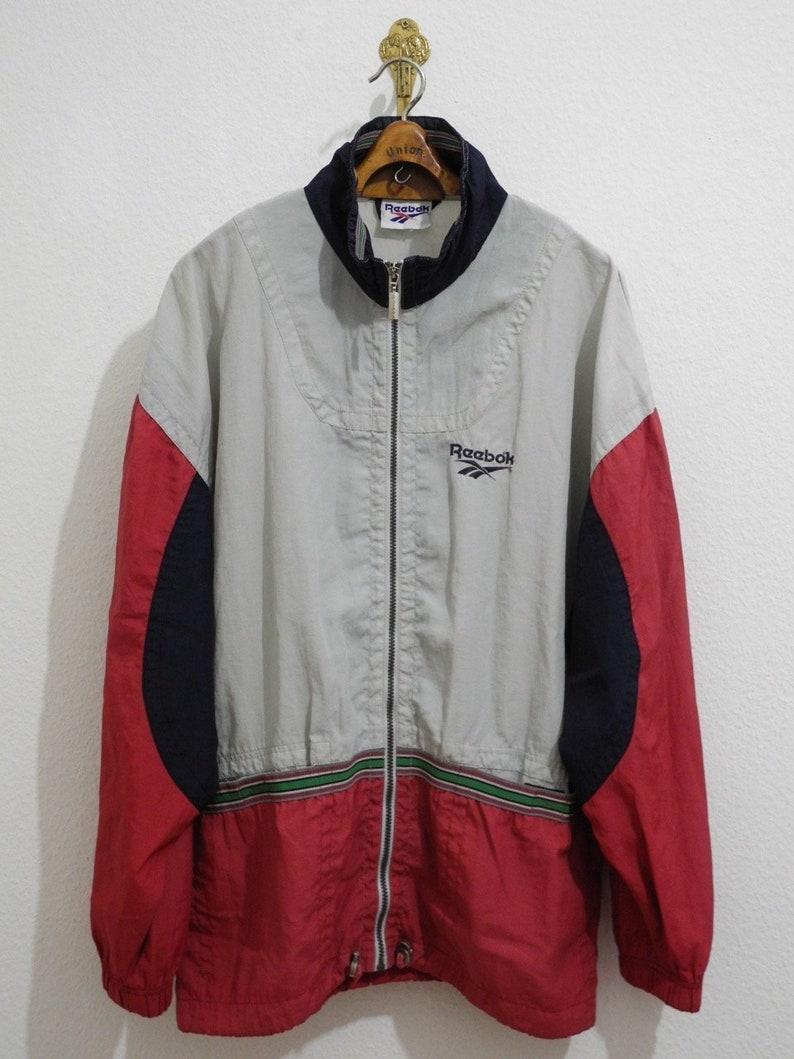 1f9fb8efe8da9 Reebok Rare Vintage Jacket L/XL Grey Blue Red Blue 90s Long