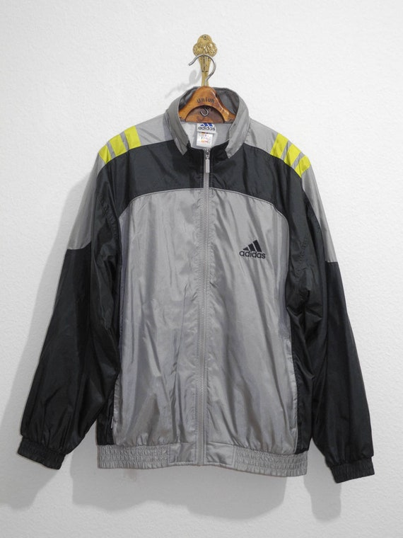 2f9157a68dff Adidas Track Jacket M L Silver Grey Neon Yellow Training Equipment