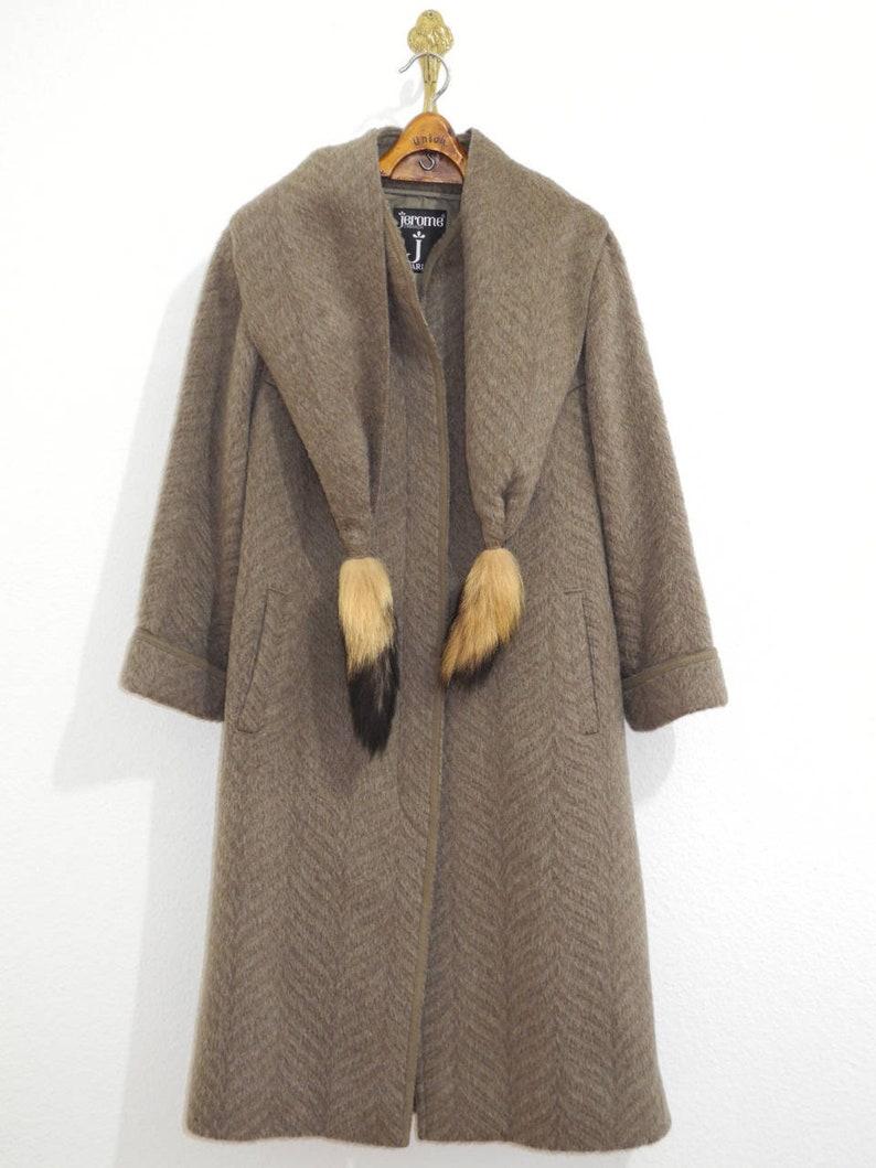 f041ff4e0 Jerome Paris Rare Vintage Luxury S/M/L Lama Wool Coat 60/70s Calw Grey  Loden with Lama Wool Scarf