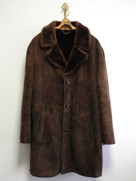 Vater German 70s Shearling Coat L/XL Brown Black L