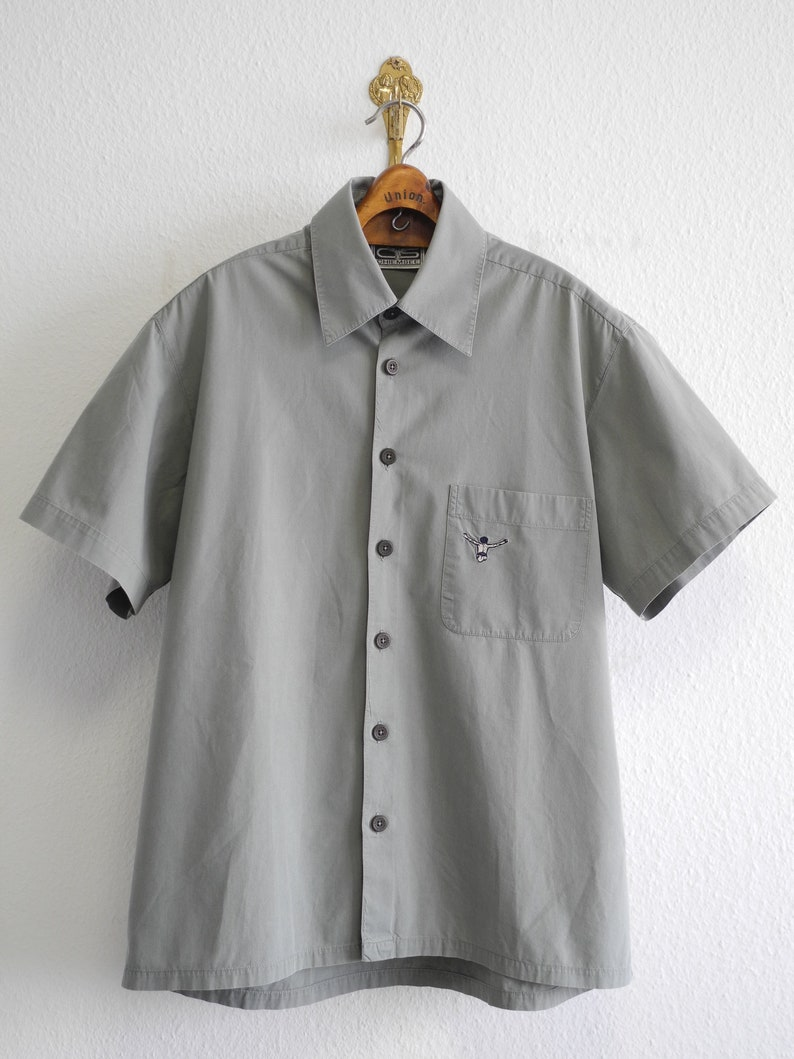 Chiemsee Vintage Shirt ML Grey Soft Cotton Embroidered 90s