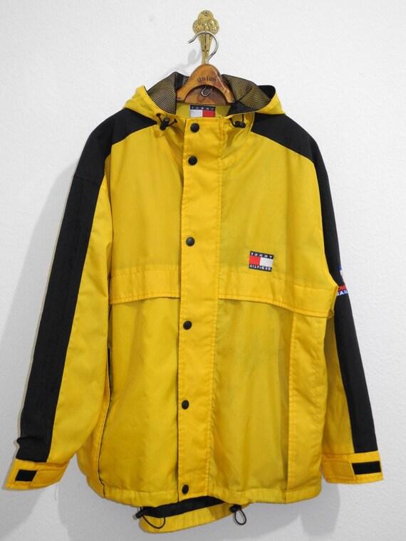 Rare 90s Yellow L Big Logo M Black Gear Sailing Tommy Jacket Hilfiger XL S4wRqR