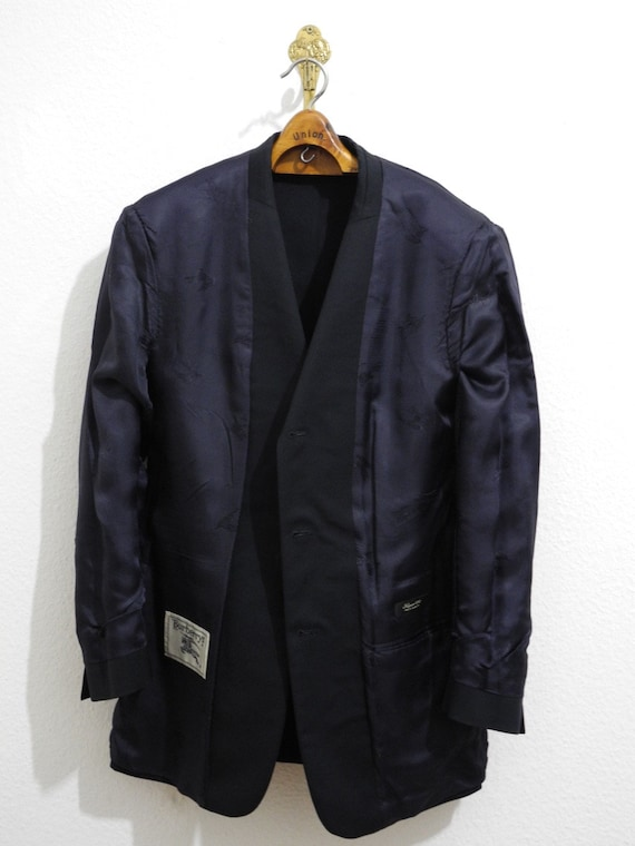 S M Swag Vintage in Burberry Buttons Jacket Blazer Club Made Germany Mint Yuppie Gold Super Dark Sandra Navy 90s 100 dXwIUqI