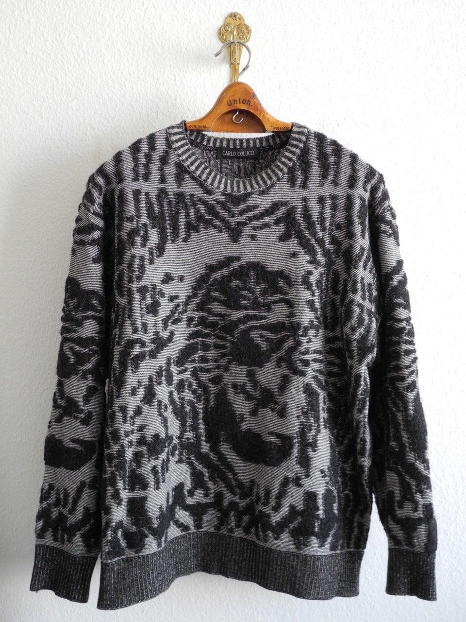 9f1f0d8f9b58f Carlo Colucci Rare Vintage Pullover M/L Black Grey Lion 80s/90s