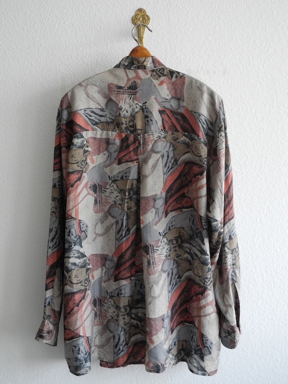 Nouvelle chemise de soie rapide M/L gris rose 90 Camo s surdimensionné Camo 90 psychédélique Hawaii Miami Vice surf planche à roulettes 88836c