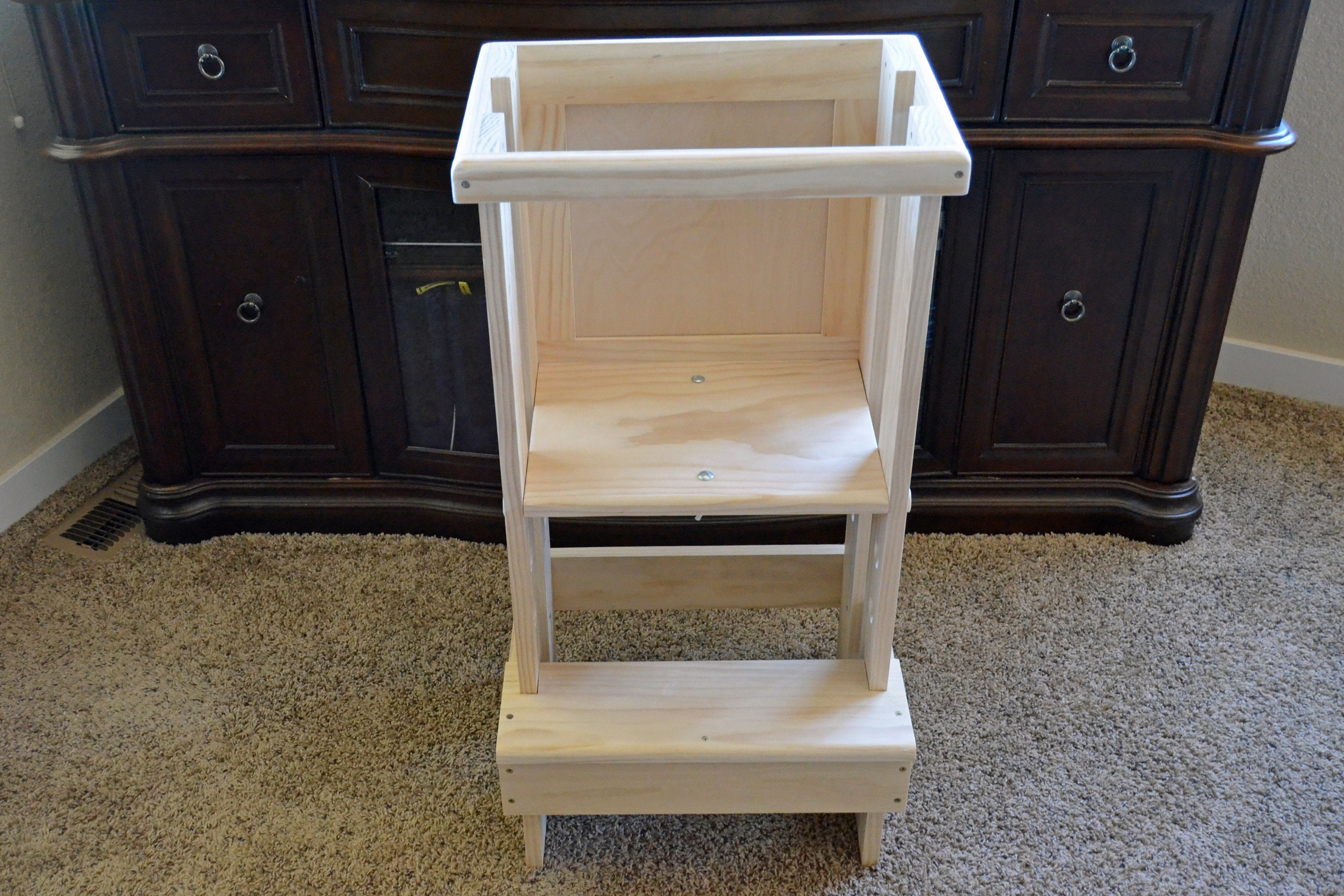 Montessori Learning Tower Unfinished kitchen Helper step stool learning tower for toddler helper tower helper stool toddler step stool