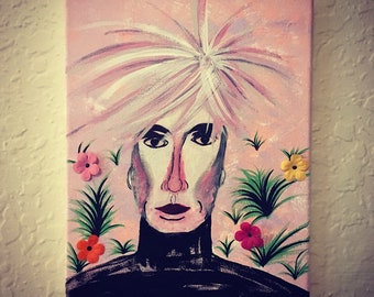 Andy Warhol Painting 8X10 with 3D Flowers