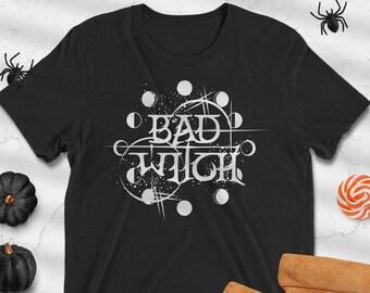 Bad Witch Graphic Tee, Halloween T-shirt, Halloween Costume, Witchy Tee, Boho Halloween, Spooky Halloween Tee, Goth Halloween, Wiccan Magic