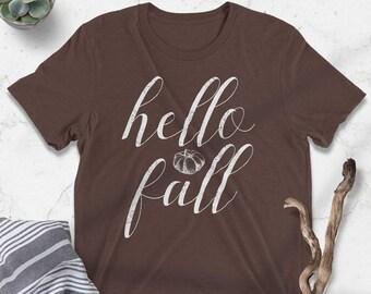 Hello Fall, Pumpkins, Script Lettering, Fall, Autumn, It's Fall, Women's Fall Tee