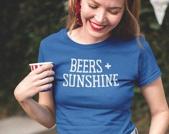 Beers + Sunshine, 4th of July T-shirt, America Shirt, Graphic Tee, Statement Tee, Women's Summer Graphic T-shirt