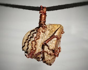 Fractured but Whole - African Queen Jasper Wire Wrapped Pendant - Tan Stone with Brown Speckles - Halves Wired Together - Handmade Necklace