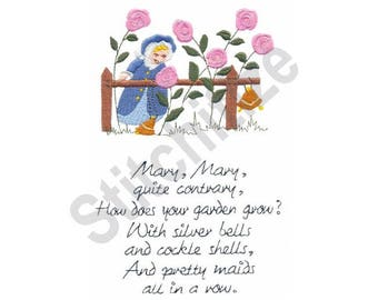 Nursery Rhyme - Machine Embroidery Design, Mary Mary Quite Contrary
