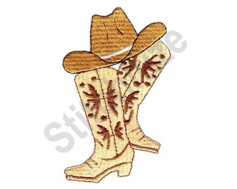 68d3defc94b Cowboy Hat And Boots Machine Embroidery Design
