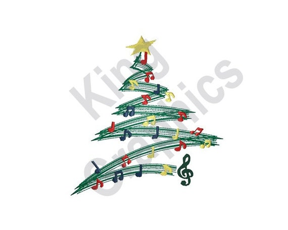 Christmas Music Notes.Musical Christmas Tree Machine Embroidery Design Christmas Tree Christmas Music Music Notes