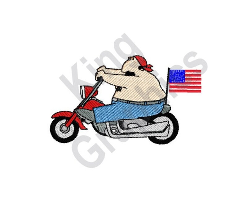 Biker - Machine Embroidery Design, Motorcycle, American Flag