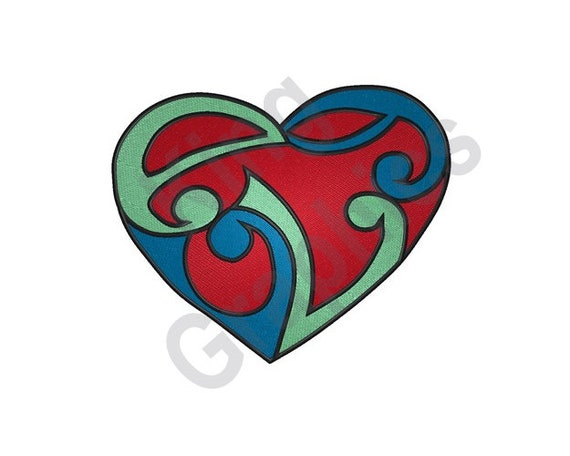Celtic Heart Tattoo Machine Embroidery Design Etsy